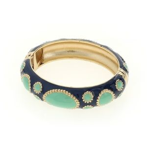 Enamel Hinge Bangle Bracelet Blue/Green Goldtone